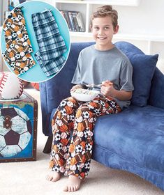 Get twice the style when you lounge around with this pack of boys' flannel pants with two different prints. Each pair in the 2-pk. features soft polyester construction and an all-over print. An elastic waistband with a faux drawstring provides added