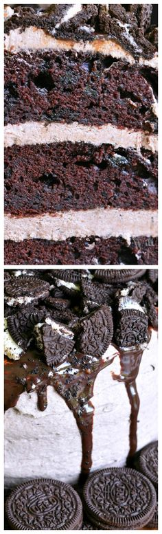 Chocolate Oreo Cake ~ An unbelievable, absolutely heavenly cake... Soft, moist Chocolate Cake that has Oreo cookies baked right in and it's filled and frosted with delicious, smooth Oreo Cream Cheese Frosting