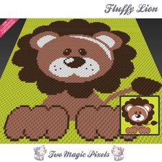 Fluffy Lion crochet blanket pattern; c2c, cross stitch; graph; pdf download; no written counts or row-by-row instructions by TwoMagicPixels, $3.79 USD
