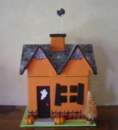 Spooky Halloween Paper Mache 7inch House