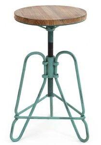 vintage screw top stool aqua - metal and wood stool, metal and wood stools, ... - Green with Envy