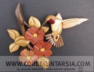 CORBEILINTARSIA.COM Colibri et fleurs de pommes plan intarsia - Hummingbird and apple blossom intarsia pattern
