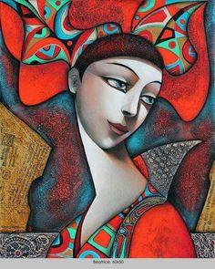 MY BELLA ~ by Wlad Safronow, Ukranian artist, born 1965 in Kharkov, Ukraine. Cubism Art, Ukrainian Art, Arte Pop, Grafik Design, Face Art, Figurative Art, Art Images, Painting & Drawing, Modern Art