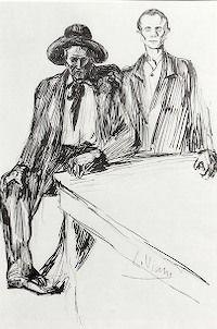 """Lorenzo Viani (Viareggio 1882- Ostia 1936), """"Anarchici"""", 1906- 1907. china su carta cm. 25 x 36 Collezione: VARRAUD SANTINI Firmato in basso a destra: L. Viani Gamc, Viareggio"""