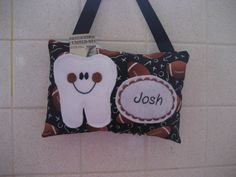 Tooth Fairy Pillow Football print fabric which can be personalized. Fairy dust and Certificate included