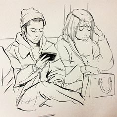 Today's Tokyo subway iPad sketches! Guy on the left asked me to draw him, haha https://www.patreon.com/posts/3946492