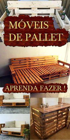#PALLET - MÓVEIS DE PALLET ! Veja como fazer você mesmo , em passo a passo diversos móveis de pallets . Tenha uma decoração diferenciada , economize ou lucre com pallets #pallets #móveis #decoração #homedecor #madeira #interiordesignideas #diy #diyhomedecor #feitoamao #creative #quartodebebe #quartodemenina #camping Diy Pallet Couch, Wooden Pallet Table, Pallet House, Pallet Bar, Palette Furniture, Furniture Decor, Homer Decor, House Rooms, Home Projects