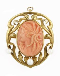 Art Nouveau Coral Cameo Pin/Pendant with Pearls