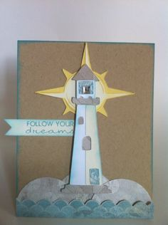 I love lighthouses Scrapbook Paper Crafts, Scrapbook Cards, Scrapbooking Ideas, Cricut Craft Room, Beach Cards, Card Making Tutorials, Cricut Cards, Congratulations Card, Cricut Creations