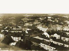 Panoraama Kallion kirkon tornista luoteeseen. Taustalla näkyy Vesilinnanmäki, jolla myöhemmin rakennettiin Linnanmäki. Signe Brander 1912.