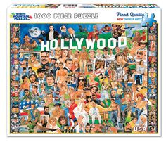 WHITE MOUNTAIN PUZZLES, Hollywood Stars in Famous Roles. Do it yourself jigsaw puzzle, boxed attractively with the picture of the puzzle on the cover. (Product #: WMP-254) #history #puzzle #educational #hobby