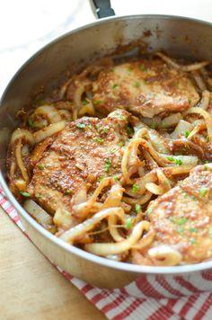 Apple Butter Pork Chops - salt pepper pork chops, 3 cloves minced garlic no need onions, 1/4cup apple cider vinegar to deglaze