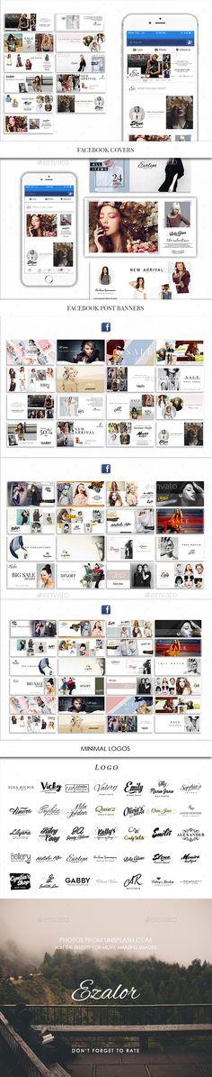 Facebook and Minimal Logos Templates PSD