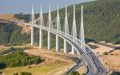 Millau Viaduct, France. Cable bridge, tallest road bridge in the world.
