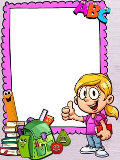 Page Borders Design, Boarder Designs, Art Drawings For Kids, Art For Kids, Vintage Clipart, School Border, Boarders And Frames, School Frame, School Images