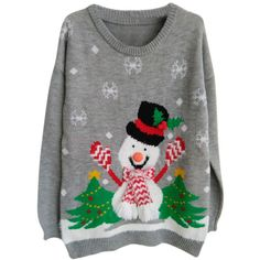 Womens Ugly Christmas Snowman Pullover Sweater Gray ($27) ❤ liked on Polyvore featuring tops, sweaters, grey, acrylic sweater, grey pullover, grey pullover sweater, sweater pullover and christmas sweaters