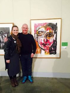 Year 12 #GlenInnes High School student Zoey Carpenter- Kerr placed placed first in New England Regional Art Museum's 2015 Let's Hang It! competition > image: Zoey and Greg at the presentation night, © The Glen Innes Examiner, 6 August 2015