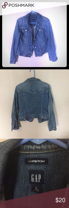 Gap Jean Jacket Gap Stretch Jean Jacket. Super soft denim. Size small. No rips, tears or stains. Great staple for every wardrobe! GAP Jackets & Coats Jean Jackets