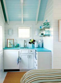 Blue Beachy Kitchen: http://beachblissliving.com/cottage-living-nantucket/ Small Kitchen Decor Idea.
