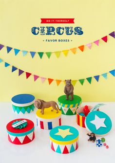 It's turning into a circus around here. At least we made these cute favor boxes to go with the theme. Circus Party Favors, Circus Party Decorations, Circus Carnival Party, Carnival Birthday Parties, Carnival Themes, Circus Birthday, Birthday Party Themes, Circus Centerpieces, Carnival Baby Showers