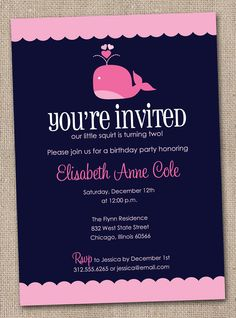 Printable Girls Pink Whale Birthday Party Invitations. $16.00, via Etsy.