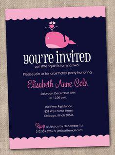 Printable Girls Pink Whale Birthday Party Invitations. $16.00, via Etsy.