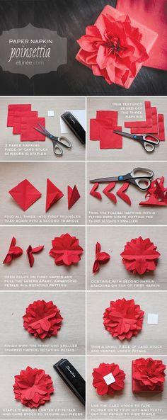 Paper Napkin Poinsettia Tutorial | Ellinée | handcraft your life