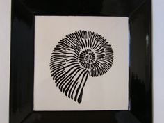 Large Square Plate with Stylized Shell in Black by BonCreationz, €103.45