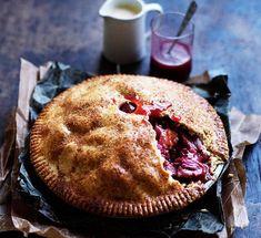 Australian Gourmet Traveller recipe for Rhubarb and apple pie with warm cinnamon custard