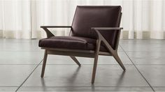 Cavett Leather Wood Frame Chair | Crate and Barrel
