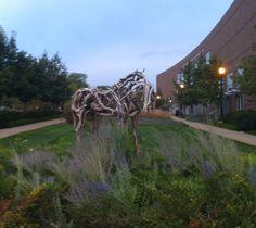 Deborah Butterfield Life-size bronze horse sculpture in front of Purdue University's Yue-Kong Pao Hall.