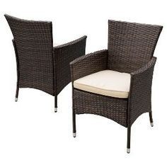 Christopher Knight Home Malta Set of 2 Wicker Patio Dining Chair with Cushion