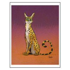 """Serval"" by Chris Ayers. A puzzled cat!"