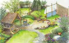 Bilderesultat for små hager Topiary, Children's Place, Golf Courses, Backyard, Mansions, House Styles, Places, Painting, Home Decor