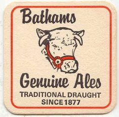 Bathams Genuine Ales beermat from 1970s-1980s.
