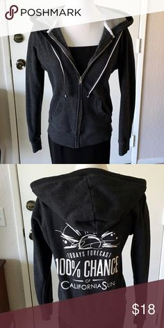 California Hoodie Large Dark gray with white stitching accents. Cute logo on back. Excellent condition. No trades. No PayPal. Tops Sweatshirts & Hoodies