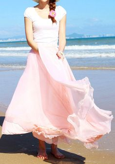 Circle Maxi Skirt - Baby Pink - Charming Chiffon Skirt