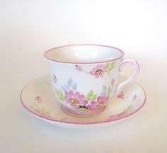 Vintage Phoenix China TF&S Hand Painted Teacup and Saucer Yellow Floral - England - Circa 1925-1959