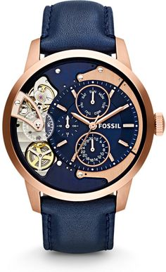 Fossil Townsman Multi-Function Rose Gold Navy Blue Leather Watch For Men. Fossil Watches For Men. Watch Gift Ideas For Him/BoyFriend/Husband. Fossil Watches For Men, Cool Watches, Casual Watches, Wrist Watches, Nixon Watches, Skeleton Watches, Beautiful Watches, Luxury Watches, Accessories