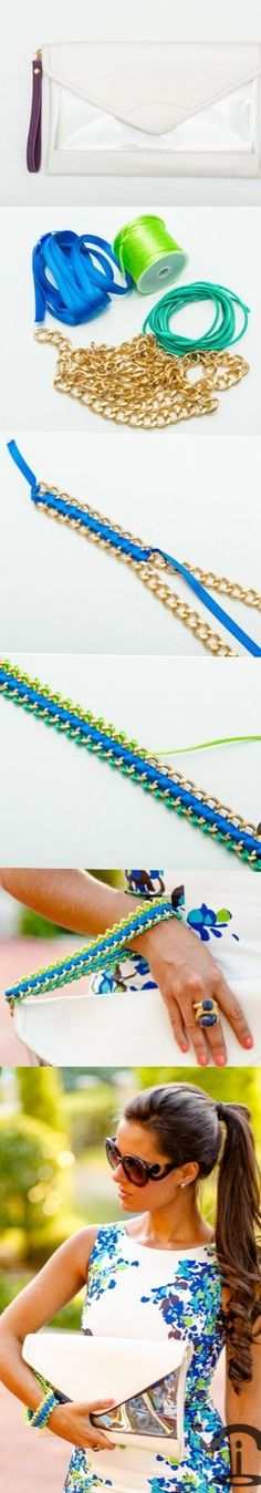 DIY Crimenes de la Moda - Neon handbag - cadena - chain - bolso fluor
