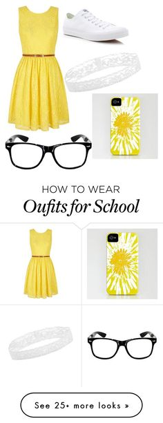 """""""My school style"""" by gretchenlover on Polyvore featuring Yumi, Converse, women's clothing, women, female, woman, misses and juniors"""