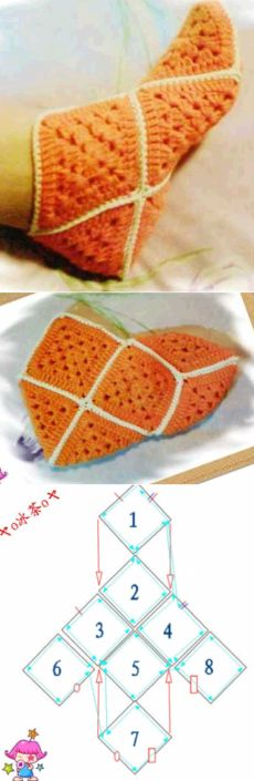 Crochet Granny Square Slippers Ideas 44 New Ideas Crochet Squares, Crochet Granny, Filet Crochet, Diy Crochet, Crochet Stitches, Granny Squares, Crochet Ideas, Crochet Boots, Crochet Slippers
