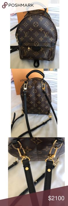Louis Vuitton Palm Springs Mini Excellent condition LV mini backpack, only used 3x. Sold out online, also some stores even have waiting lists for this bag. It's small but fits quite a lot of everyday items (: 100% authentic,  added pic of date code. Purchased this in October at the LV in Topanga in California. I will include original box with dust bag, ribbon and original receipt. Louis Vuitton Bags Backpacks
