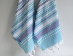 NEW Design SET 2 Head and Hand Towel Peshkir - Blue, Navy blue and white striped