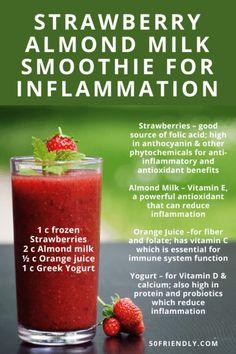 Frozen Fruit Smoothie, Fruit Smoothie Recipes, Healthy Smoothies, Healthy Drinks, Smoothie Drinks, Anti Inflammatory Smoothie, Anti Inflammatory Recipes, Healthy Eating Recipes, Diabetic Snacks
