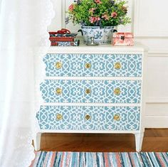 Furniture Stencils...I love the idea of being able to upgrade a piece of furniture from blah to WOW!