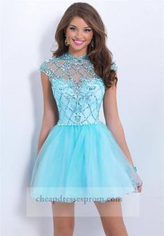 Beaded Blue High Neck Short Homecoming Dresses 2014