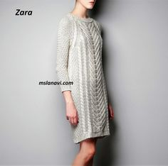 Платье спицами с широким араном от Zara Zara, Rubrics, Sweater Fashion, Hand Knitting, Knitting Ideas, Dresses With Sleeves, Crochet, Long Sleeve, Sweaters