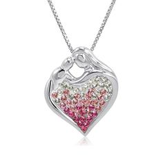 Sterling Silver Pink Ombre Crystal Mother and Child Heart Pendant with Swarovski Elements - http://www.sparklingheaven.com/valentines-jewelry/sterling-silver-pink-ombre-crystal-mother-and-child-heart-pendant-with-swarovski-elements/