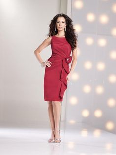 Pretty Tank Top Knee Length Red Taffeta Sheath Column Mother Of The Bride Dress